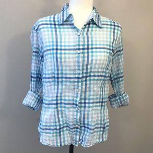 J. McLaughlin Blue Plaid Cotton Button Down Shirt